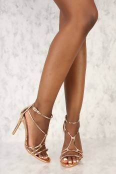 Sexy Rose Gold Strappy Rhinestone Accent Open Toe Single Sole High Heels