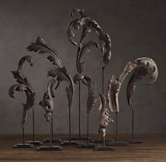Acanthus Leaves Architectural Ornaments on Stands. Cast Metal with Aged Silver Patina. Circa (Reproductions from Restoration Hardware) Ancient Greek Architecture, Vintage Industrial Decor, Vintage Decor, Restoration Hardware, Photo Restoration, Belle Photo, Sculpture Art, Accent Decor, 1930s