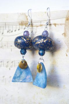 Black Golden Polymer clay earrings dangle  silver by chezviolette