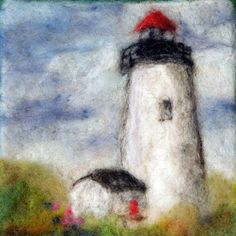068 Lighthouse Thyme Tile Needle Felting Pattern Kit by FiberThyme