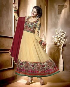 Georgette Light Brown Semi Stitched Salwar Suit