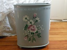 Tole Trash Can Hamper  Vintage by Quilted Nest by QuiltedNest