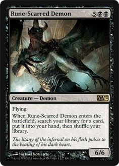 Magic: the Gathering - Rune-Scarred Demon - Magic 2012:   Magic: the Gathering is a collectible card game created by Richard Garfield. In Magic, you play the role of a planeswalker who fights other planeswalkers for glory, knowledge, and conquest. Your deck of cards represents all the weapons in your arsenal. It contains the spells you know and the creatures you can summon to fight for you.br/br/Card Name/b: Rune-Scarred Demonbr/br/Cost/b: 5BBbr/br/Color/b: Blackbr/br/Card Type/b: Crea...