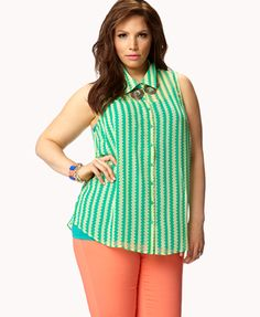 Striped Geo Shirt -- {green/lime} -- $17.80 -- {size: 3x} http://www.forever21.com/Product/Product.aspx?br=f21=faith_tops=2049257046=027