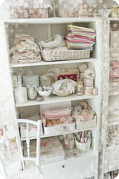 Love the use of vintage luggage and China for storage and grouping
