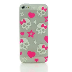 INASK luminous effect fluorescent glow in the dark Back Cover Case for iPhone 5 5S with Free Screen Protector Pink Bow #Skull