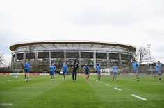 General view is seen during a Germany training session ahead of their Euro 2016 Qualifier against...