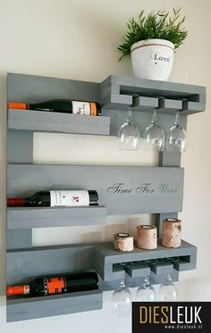 Bar Deco, Wine Rack Design, Wine Stand, Rustic Wine Racks, Home Bar Designs, Wine Rack Wall, Wall Shelves Design, Wall Bar, Farmhouse Kitchen Decor