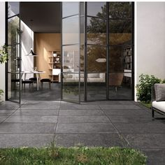 Siena Clypot Porcelain by Globel Stone. Premium porcelain paving collection from Italy. Ideal for Patio, creating a modern low maintenance garden design. Slate Paving Slabs, Slate Patio, Paving Stones, Glass House Design, Low Maintenance Garden Design, Paving Design, Outdoor Spaces, Outdoor Decor, Outdoor Patios