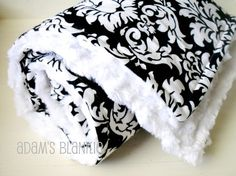 black and white damask baby blanket.