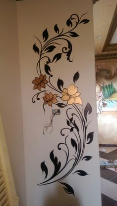 Wall design vinil paint 60 Ideas for 2019 Simple Wall Paintings, Creative Wall Painting, Wall Painting Decor, Mural Wall Art, Fabric Painting, Wall Art Decor, Wall Art Designs, Paint Designs, Wall Drawing