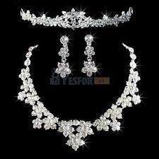 Bridal Wedding Party Prom Jewelry Set Crystal Rhinestone Necklace Earrings Tiara