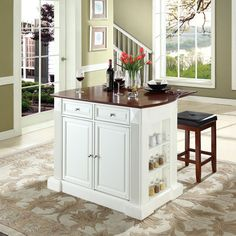 """Crosley Furniture KF300075WH Drop Leaf Breakfast Bar Top Kitchen Island in White Finish with 24"""" Cherry Upholstered Square Seat Stools"""
