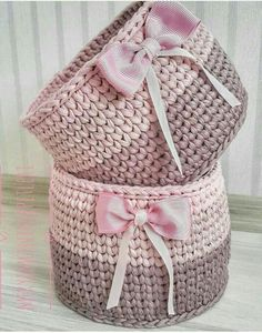 The most beautiful Crochet basket and straw models Bonnet Crochet, Crochet Box, Crochet Basket Pattern, Knit Basket, Knit Or Crochet, Crochet Gifts, Crochet Patterns, Basket Bag, Crochet Baskets