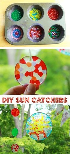 DIY Sun Catchers -- A ton of DIY super easy kids crafts and activities for boys and girls! Quick, cheap and fun projects for toddlers all the way to teens! Listotic.com #EverydayArtsandCrafts