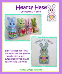 Hase HEARTY - STICKDATEI  ! ITH ! grosser Rahmen
