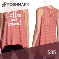 """Coffee and Brunch Hi- Lo Tank Celebrate the weekend in this  stripe knit key- hole back tank, hi- Lo hem:25-30"""", ray one/ spandex blend, made in the USA .. Tops Tank Tops"""