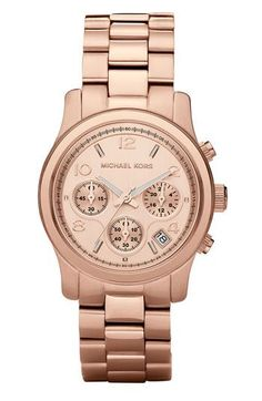 Michael Kors Chronograph Runway Rose Gold-Tone Stainless Steel Bracelet