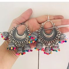 Grab these beautiful earrings now available at our store for Dm or whatsapp us at 9728054826 to place order 💕 Indian Jewelry Earrings, Fancy Jewellery, Jewelry Design Earrings, Indian Wedding Jewelry, Stylish Jewelry, Cute Jewelry, Fashion Jewelry, Hoop Earrings, Silver Jewelry
