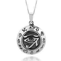925 Sterling Silver Egypt Egyptian Udjat Eye of Ra Horus Pendant Necklace 18 >>> Want additional info? Click on the image.