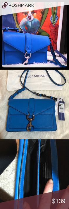 """🏍 Moto Mini Crossbody Rebecca Minkoff 🏍 This is such an adorable bag!! It is the bright royal color. It features a long cross body strap and two separate areas inside to keep everything organized. Front also has a thin pocket for cellphone etc. saffiano leather is very durable and chic. Comes with original stuffing, dustbag, attached tags, and authenticity card. 9""""W 6""""H 2.5"""" D Rebecca Minkoff Bags Crossbody Bags"""