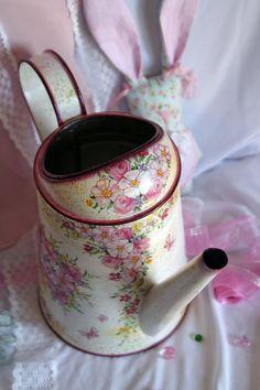 Watering can decoupage handmade by DecoDvorik on Etsy