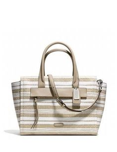 Coach Bleecker Riley Carryall Satchel in Embossed Woven Leather
