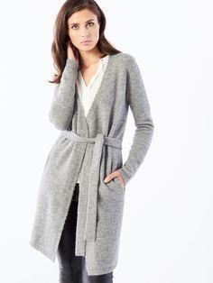Długi płaszcz z domieszką wełny, SWETRY, BLUZY, szary, MOHITO