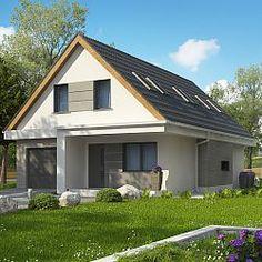 Projekt wygodnego domu z garażem i poddaszem użytkowym na wąską działkę