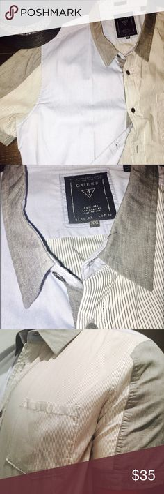 GUESS Men's short sleeve button-down shirt Beautiful Guess 100% Cotton Shirt Sleeve Men's shirt. Excellent Condition  No flaws tears stains or imperfections Guess Shirts Casual Button Down Shirts