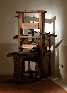 Screw Printing Press In A British Library Hallway London England
