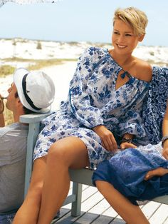 Love this floaty dress - blue & white so summery and crisp!