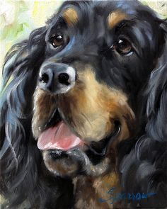 Original Gordon Setter Portrait of Dog by HangingtheMoonShelby, $150.00