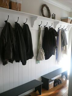 boot room - fabulous shelf and hooks