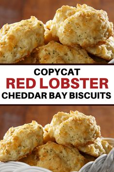 Red Lobster's Cheddar Bay Biscuits are incredibly buttery, garlicky, cheesy, flaky, and downright addicting. Try this copycat recipe of Red Lobster's Cheddar Bay Biscuits and be surprised at how incredibly identical they are with the original! Cheddar Bay Biscuits, Biscuit Mix, Biscuit Recipe, Copycat Recipes, Steak Recipes, Easy Recipes, Red Lobster Biscuits, Bite Size Snacks, Amigurumi