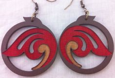 Brown/Red Wooden Floral Earrings by GravenDesigns on Etsy, $12.00