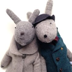 Spring Bunny and Bobby Bunny, hand knit bunny rabbits, Easter Bunnies