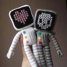 Roger the robot (skull & heart versions) by PetitsPixels, via Flickr