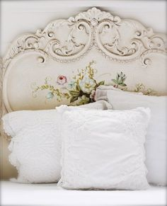 Elegant Painted Shabby Headboard   (I Adore This, I Have To Find Me A Head Board  Similar To This To Paint For Myself) :)