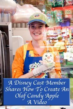 A Disney Cast Member Shares How To Create An Olaf Candy Apple A Video from How I Pinch A Penny.com