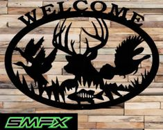 Deer welcome sign made from 16 gage steel 29 x 21 painted black can be customized or even a different color just ask and i will see what i Metal Artwork, Metal Wall Art, Wood Art, Metal Projects, Welding Projects, Metal Signs, Wood Signs, Hunting Decal, Laser Art