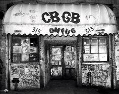 CBGB in the and The birthplace of the Ramones, Blondie, and many other bands; it was the place that inspired punk and new wave music around the world. Punk Rock, Good Music, My Music, New Wave Music, Indie Music, El Rock And Roll, The Clash, Ramones, Post Punk