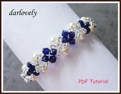 Swarovski Creamrose Pearl Blue Bracelet PDF Tutorial on Handmade Artists' Shop