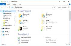 Quick access in File Explorer