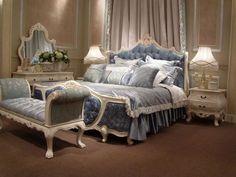 Chambre à coucher Bleu-Blanc cassé