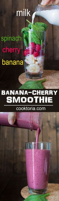 You're 5 minutes and 4 ingredients away from this refreshing and healthy Cherry Spinach Smoothie. It makes a perfect breakfast or mid-day snack!COM (Vegan Smoothies Almond Milk) Cherry Smoothie, Smoothie Drinks, Pink Smoothie Recipe, Strawberry Spinach Smoothie, Spinach Smoothie Recipes, Smoothie Shop, Breakfast Smoothies, Healthy Smoothies, Healthy Smoothie Recipes