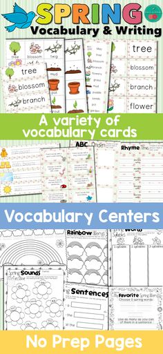 Spring Vocabulary and Writing activities. Spring Vocabulary cards. Spring no prep pages.