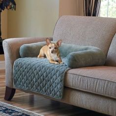 Stop Kula From Scratching The Couch   Plush Pet Cover With Bolster   Wonder  If You Could DIY Something Like This.