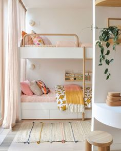 Does anyone really outgrow loving the idea of a bunk bed? Though they can sometimes be unglamorous, the ones we know are playful and unique. Photo courtesy of @joshandjenna. Click the image to try our free home design app. (Keywords: kids room decor, kids room ideas, kids room designs, dream rooms, house design, home decor ideas, kids room rugs, kids room furniture, positive vibes, positive thoughts, boho kids room, bunk beds, childrens room, baby room ideas) Bunk Beds For Girls Room, Bunk Bed Rooms, Kid Beds, Kids Bedroom, Bedroom Decor, Ikea Bunk Bed, Nursery Decor, Wall Decor, Wall Art