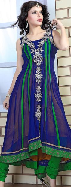 $231.99 Green and Navy Blue Faux Georgette Anarkali Suit 16627